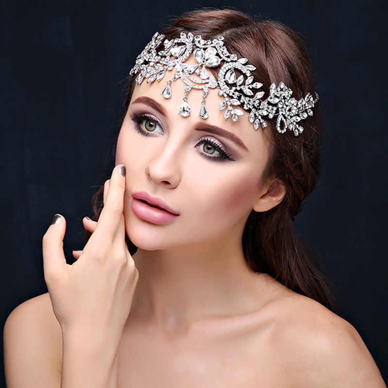 หน้าผากเจ้าสาวแต่งงานอุปกรณ์เสริมผมคริสตัล Rhinestone Crown Headband Tiara เครื่องประดับผมเจ้าสาว Headdress หน้าผากเครื่องประดับ