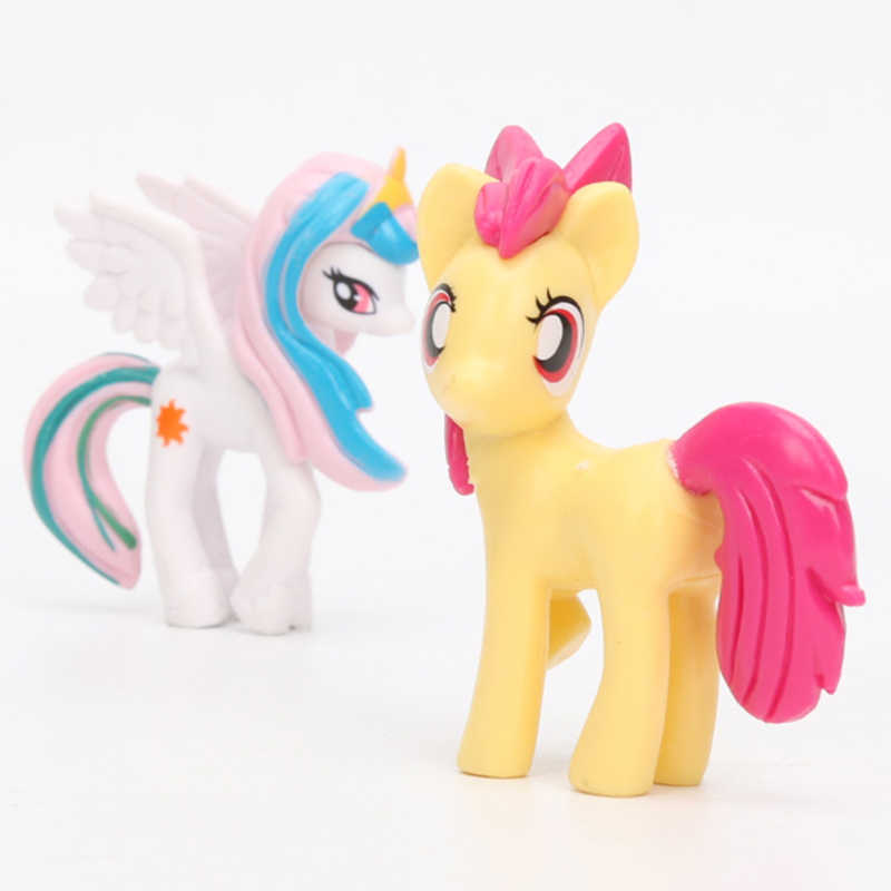 Conjunto meu pequeno pônei brinquedos mini pônei figuras de ação pvc conjunto arco-íris traço crepúsculo faísca maçã jack spike o dragão bonecas
