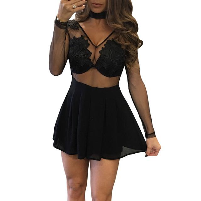 Cfanny 2017 macacões para as mulheres preto v neckfloral applique fluindo partido macacãozinho womens jumpsuit mulheres sheer malha lace bodysuit
