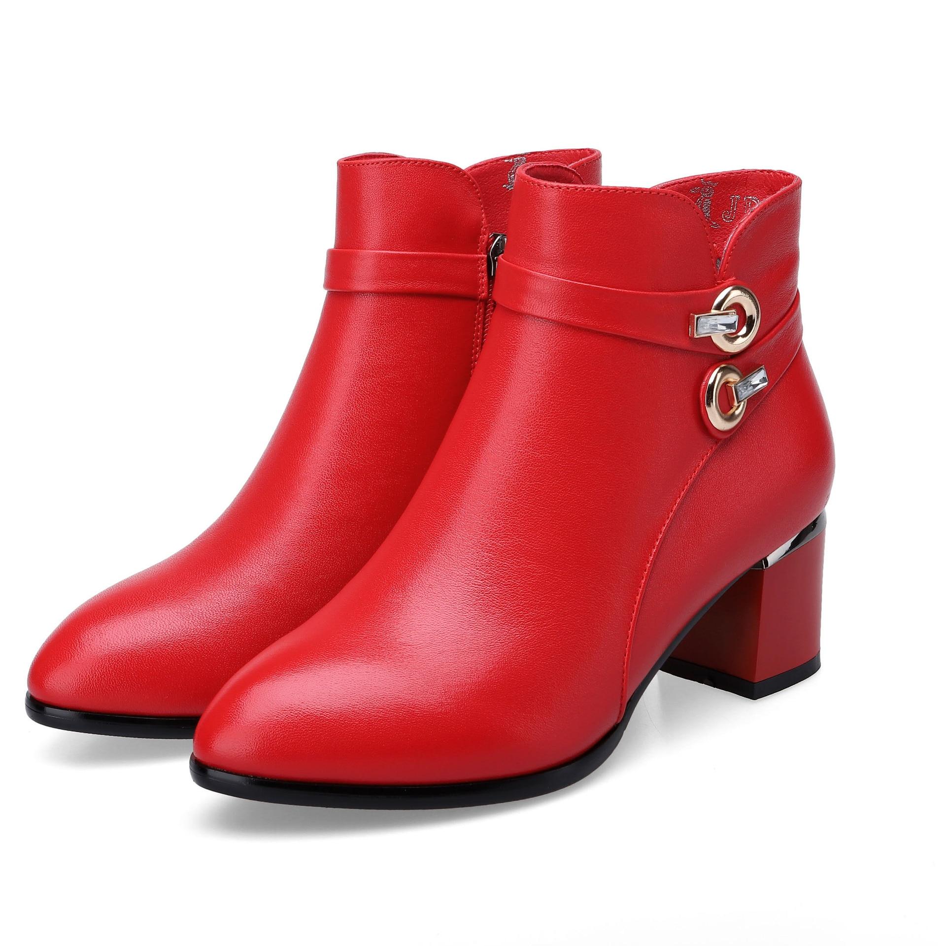 9ab1715b7e4d01 Martin Cuir De Bottines Velours Plus Automne Femmes 2018 red Tête Avec  Black Épais Ronde En Femme Et Bottes Hiver Le Bas n17xUqg