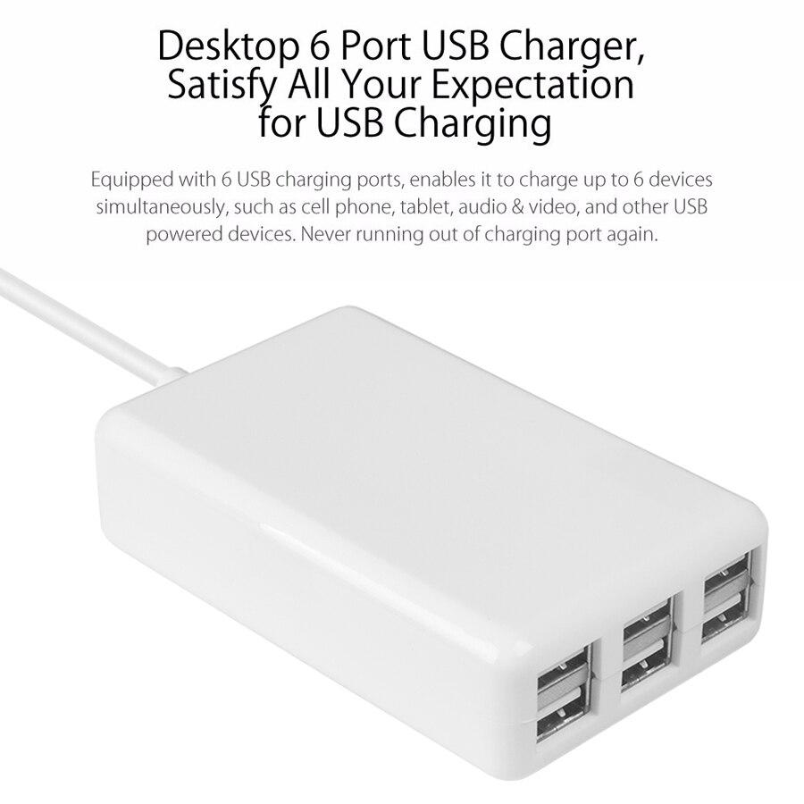 SUMPK 5V6A Adaptador de cargador de pared USB 6 puertos Cargador - Accesorios y repuestos para celulares - foto 4