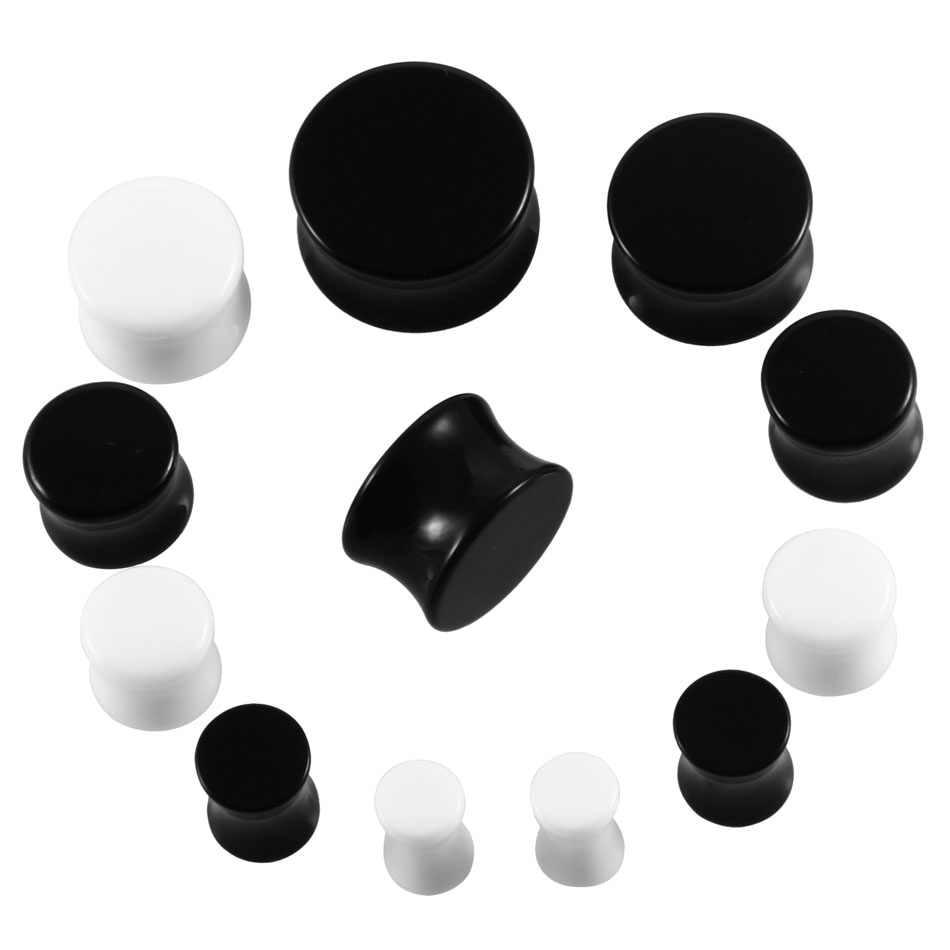 זוג שחור לבן אקריליק זוגי התלקח אוכף מעוקל מודד תקע אוזן פירסינג אוזן בשר מנהרת Expander Earlet תכשיטי אלונקה