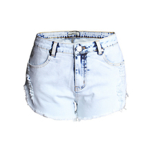 Women Summer Ripped Fringe Hole Washed High Waist Jeans Casual Slim Fit Denim Shorts Plus Size