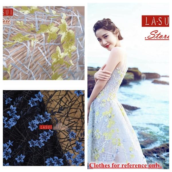 cebb9b780f8 Conception 1.6 M Jaune et gris blanc bleu Rose Stretch dentelle Broderie  Charme Fleurs robe tissu plein robe robe dans Tissu de Maison   Jardin sur  ...