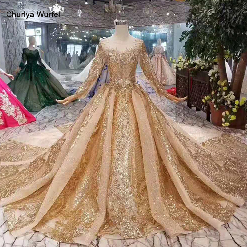 LSS440 Newest Design Evening Dresses With Golden Sequins Long Sleeves Lace Up Back Party Dress Long Train Muslim Ladies Dresses