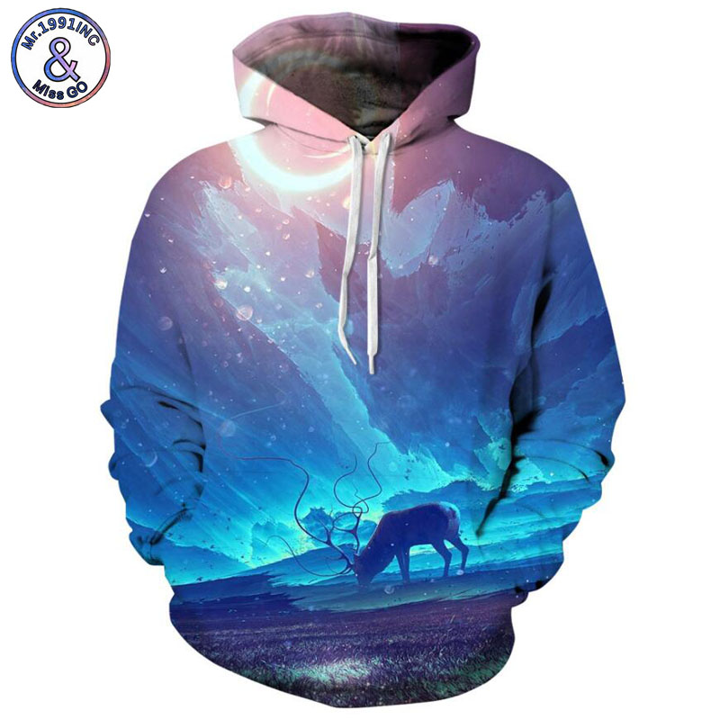Mr.1991INC 2018 new Hot Blue sky printing 3d Sweatshirts Men/Women hoodie sweatshirt Casual Hooded Pullovers Men Hoodies M132