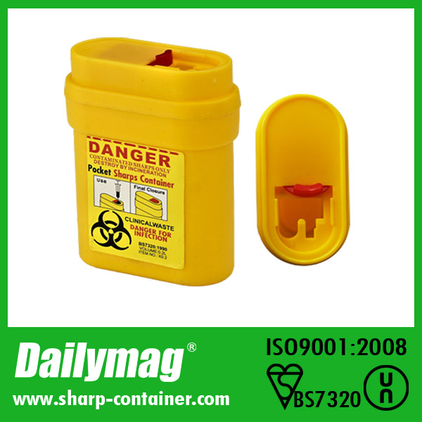 sharp disposal. one time use disposal pocket sharps used \u0026 waste needle container yellow red color for biohazard injection of insulin-in bins from home garden on sharp