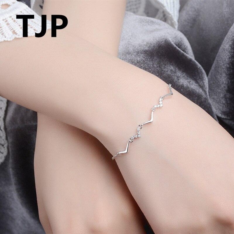 TJP Trendy 925 Silver Women Bracelets Jewelry Fashion Clear Crystal Girl Bijou 2018 Latest Female Party Accessories