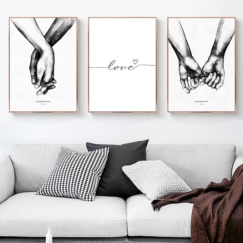 Настенная картина с черными и белыми стрелками на холсте, картина с цитатой о любви, скандинавские плакаты и принты, настенные картины для гостиной, Современный домашний декор