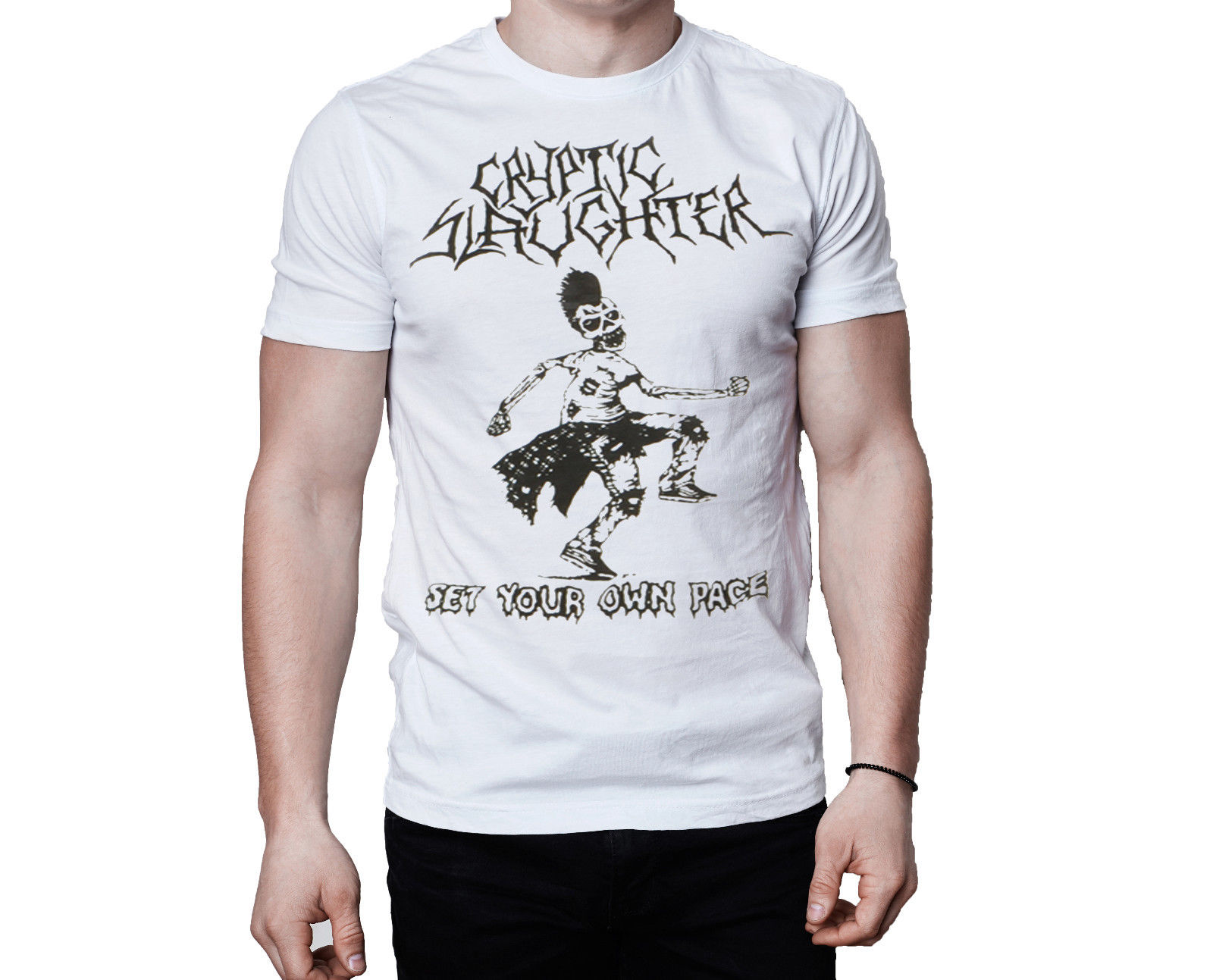 Cryptic Slaughter Set Your Own Pace Song Logo Inspired White T-Shirt Harajuku Pokemon Shirt Top Tee Funny O Neck T Shirt
