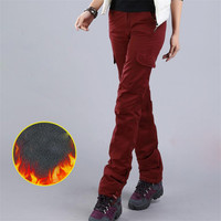 Women Cargo Pants Winter Thickening Plus Velvet Multi Pocket Casual Trousers Female Autumn Warm Military Style Pants A4036