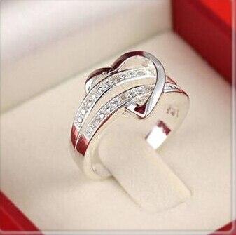 Hot Stainless steel heart female zircon wedding ring,white gold CZ diamond sterling silver love rings women 4 5 6 7 8 9 10 11 12