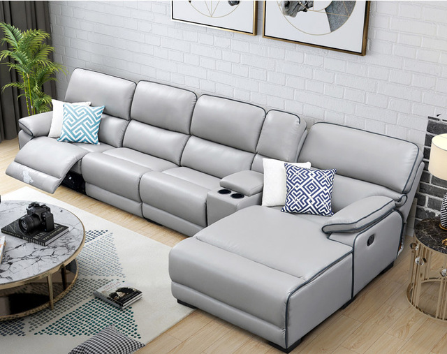 Living Room Sofa Set L Corner Recliner Manual Couch Real Genuine Leather Sectional Sofas Muebles
