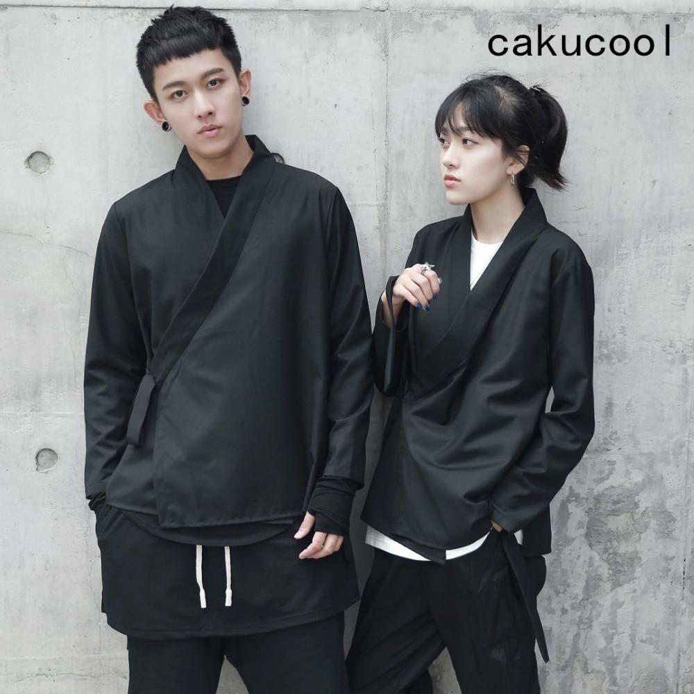 Cakucool New Kimono Jackets Normcore Gothic Outerwear Japanese Lace Up Coats Jaqueta Feminina Tops Clothes Black Plus Size