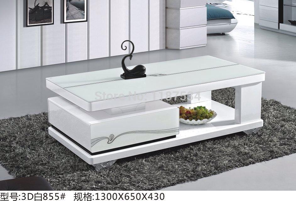 3D855  woonkamer moderne meubels wit hout glas thee tafel