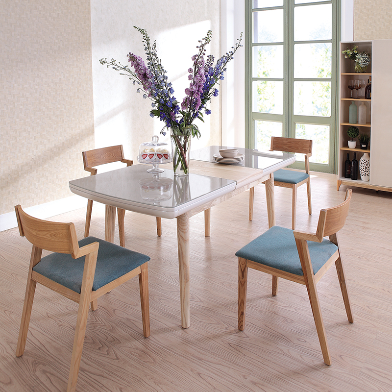 1.3 1.7meter Extended Wooden Top Dining Table Home Delievery In USA