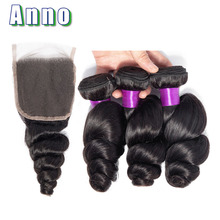 hot deal buy anno malaysia hair weave bundles with closure non remy human hair 3 bundles with closure loose wave bundles with closure
