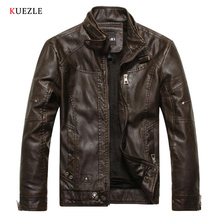 Kuezle Autumn Moto Vintage Mens Jackets Coat Motorcycle PU Male Leather Jacket Men Casual Stand Collar Slim Fit lether Brown