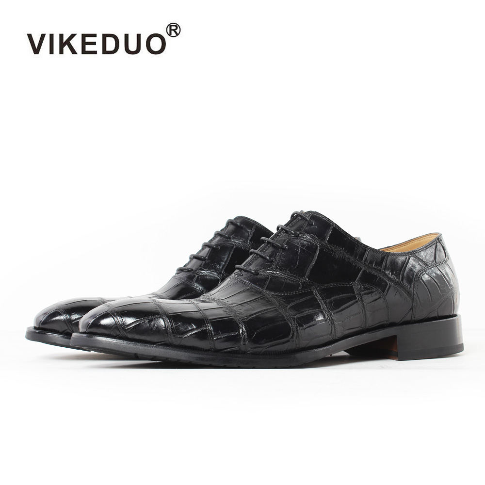 Vikeduo 2019 Handmade Italy Crocodile Skin Men's Oxford Shoes Wedding Party Dance Dress Casual Alligator Male Genuine Leather
