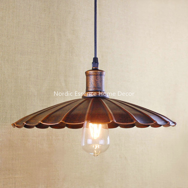 Creative Nordic American retro rural wind single head LOFT bar cafe hotel restaurant rusty ferruginous color pendant lamp light