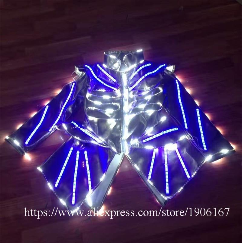 Colorful RGB LED Luminous font b Women b font Costume Bar KTV Nightclub Waiter s Clothes