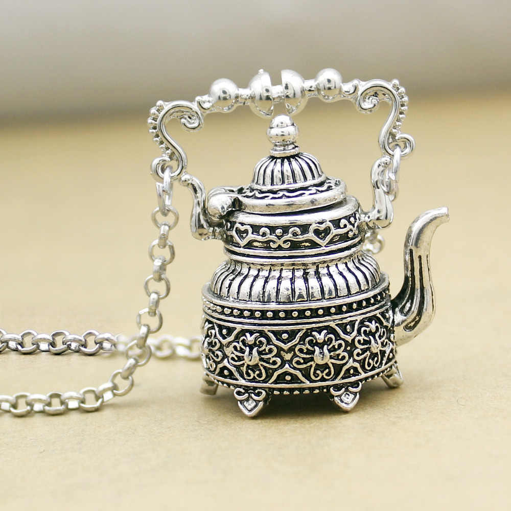 Vintage Silver Victorian  Wonderland 3D Tea Pot Party Steampunk Goth Pendant Necklace Link Chain Choker Collar Jewelry