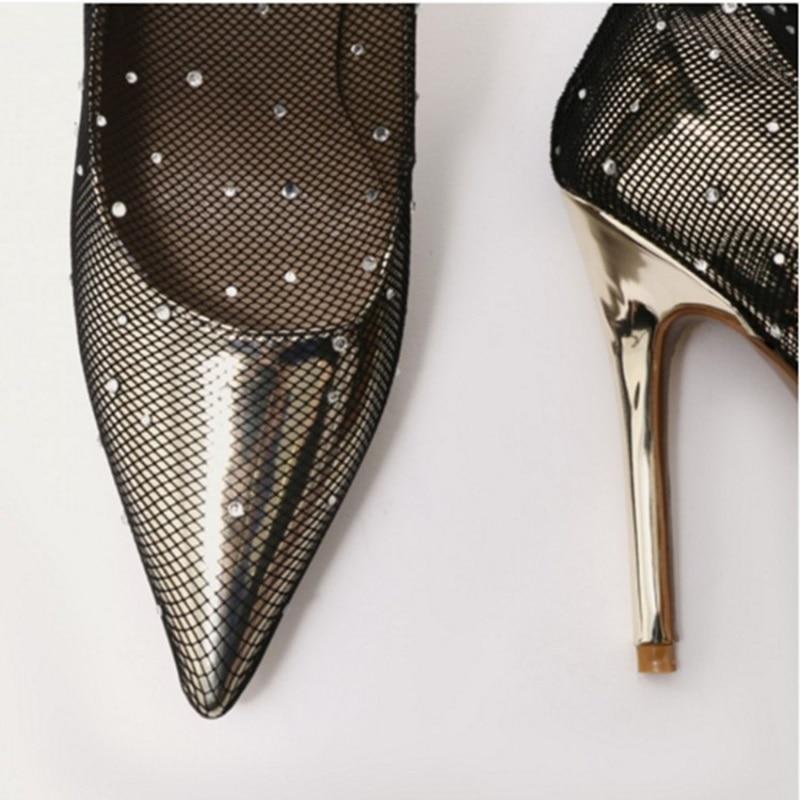 L'été As Mince Frais Talons Maille Bottes Chaussures Dentelle Sexy Mi sur De Mode Femmes Slip Bling Respirant Picture Métal x708wT8Pq
