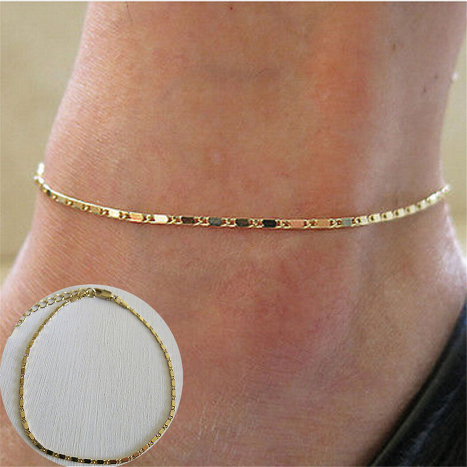 Simple Woman Anklets Casual/Sporty Gold Silver Color Chain Women Ankle Bracelet Jewelry