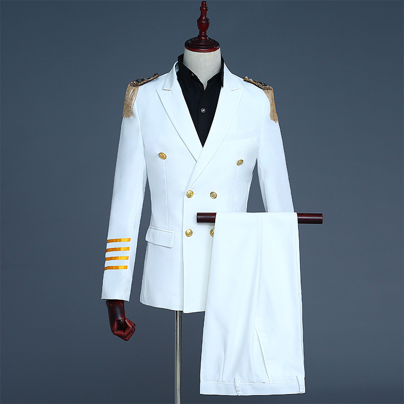 2018 White And Navy Blue Double Breasted Jacket Coat Blazer Pants Nightclub Bar Captain Royal Stage Costumes(Jacket+Pants)