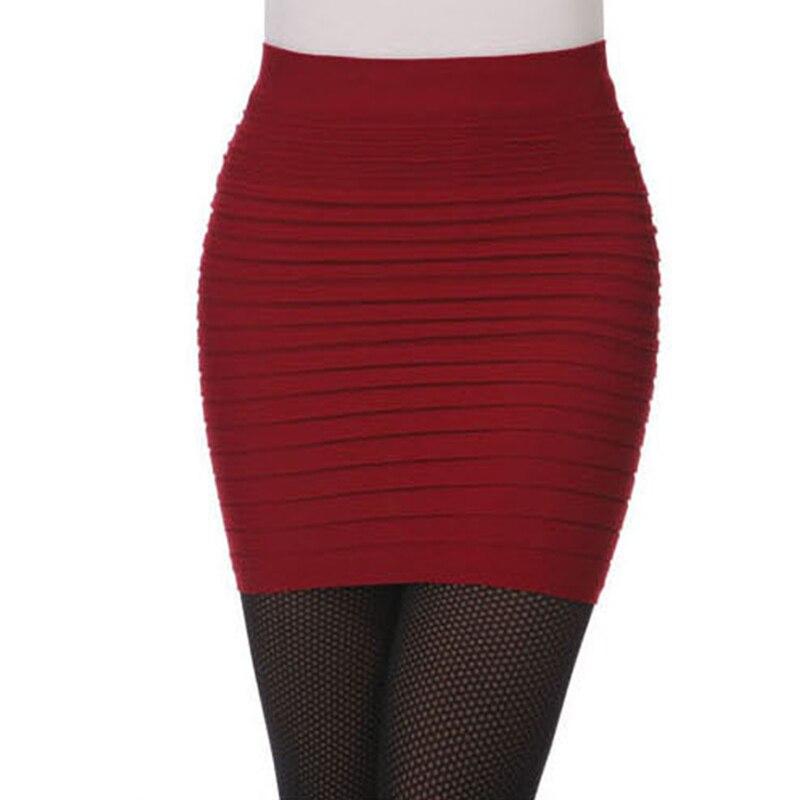 Vintage Fashion Summer Women Hip Pack Skirts High Waist Candy Color Elastic Pleated Short Skir Saias Femininas