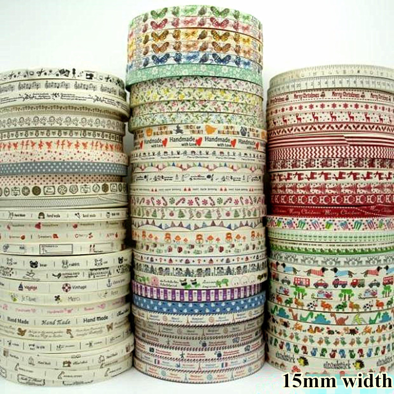 2-color Printed Fabric Ribbon// Antique Keys Pattern 15mm 2 yards 0.6 inch