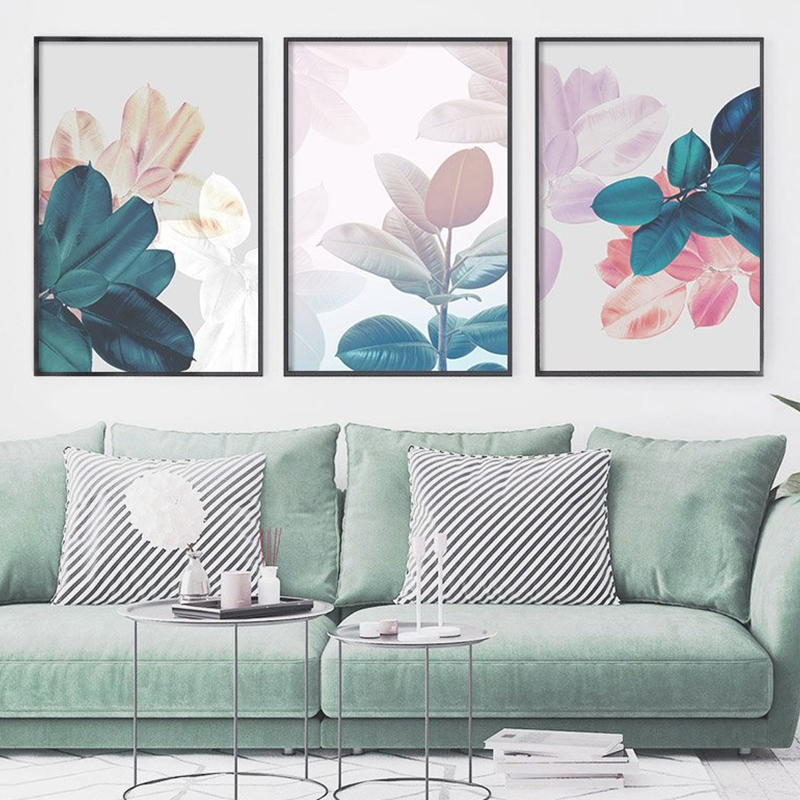 Leaves prints living room decoration
