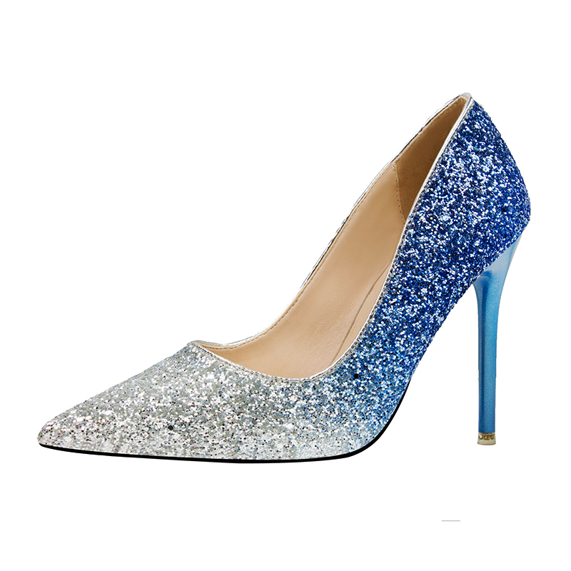 2018 Women 11cm Thin High Heels Pumps Sexy Glitter Leather Bright Pointed  Toe Scarpins Female Stiletto Purple Blue Bling Shoes-in Women s Pumps from  Shoes ... 5fbb766c8ae0