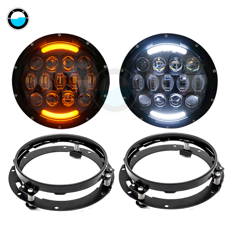 105W 7 Inch Round LED Headlight with White/ amber Turn Signal DRL for Jeep Wrangler Jk Tj Harley Davidson 7 LED Headlight Suit.