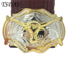 Cool 3D Cowboys Belt Buckles Metal OX Head Ellipse Luxury Mens Designer Belt Buckles Free Shipping