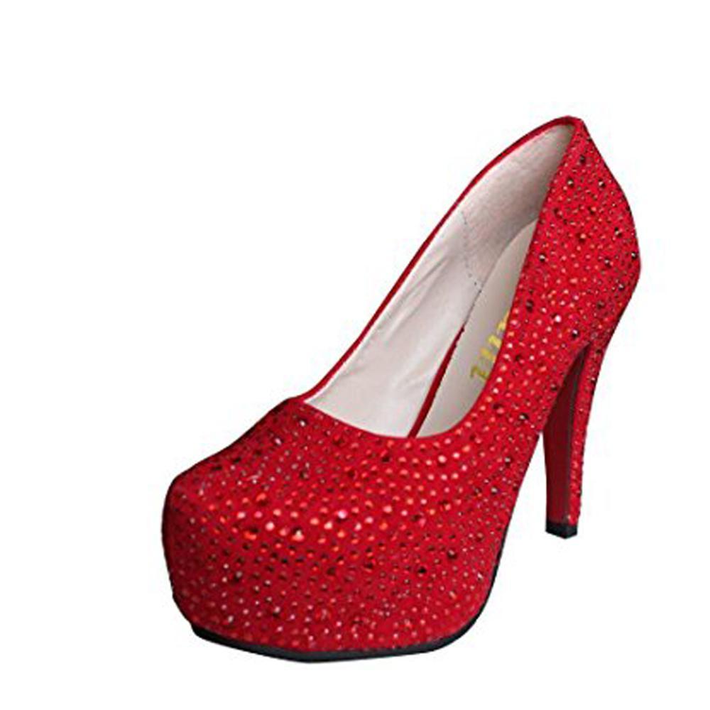 Partido Cristal Señora Tacón blanco Fino Altos Tacones Zapatos De 2016 Rhinestone Nupcial Brillo Plataformas Mujeres Boda Prom Bomba Plata Rojo aSqf8xwg