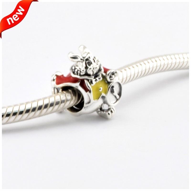 Disny White Rabbit Beads Fits Pandora Charms Bracelets Red&Yellow Enamel Disny Jewelry 925 Sterling Silver 2016 Spring Jewelry  (1)