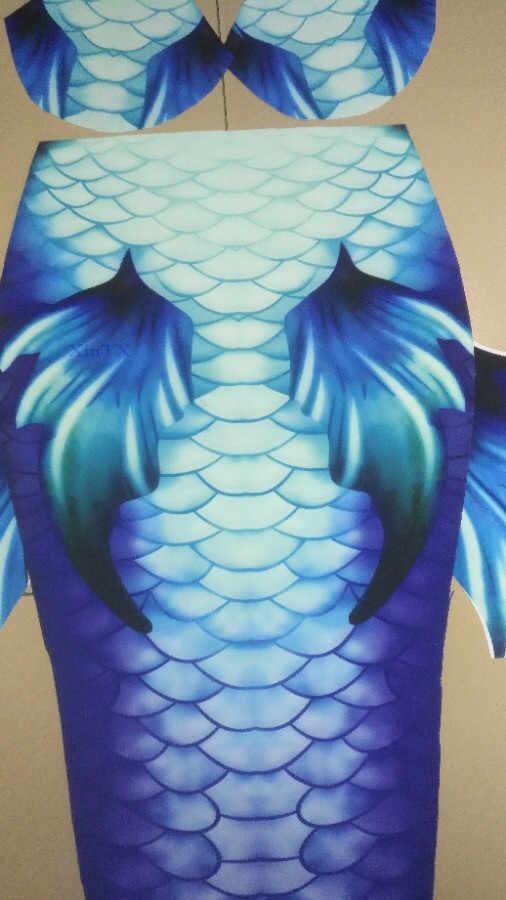Custom Made เด็กผู้หญิงการพิมพ์ HD Mermaid หาง Monofin ชุดว่ายน้ำ Mermaid Bikini ชุดว่ายน้ำ