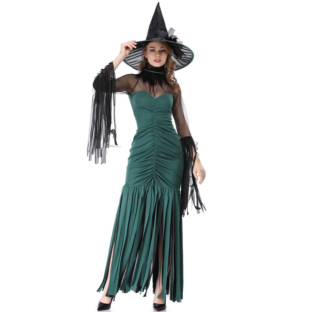 Vestiti Halloween.Us 25 44 15 Off Sexy Plus Size Halloween Costumes For Women Witch Costume Green Fringed Fancy Dress Night Club Clothes Vestiti Carnevale Donna In