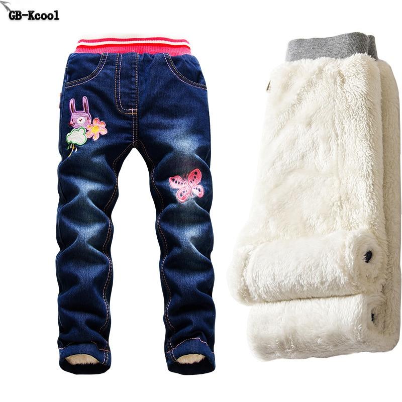 Fashion Jeans for girls Autumn Children winter leggings jeans Baby pants Plus Velvet Denim Trousers Elastic Girls jeans costume