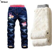 Modne dżinsy dla dziewczynek jesienne dzieci zimowe legginsy jeansowe spodnie dla niemowląt Plus aksamitne spodnie jeansowe elastyczne dziewczęce jeansy