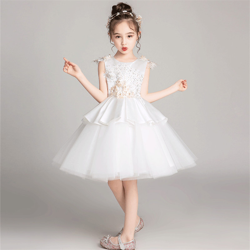Kids Toddler White/Champagne Color Birthday Wedding Party Appliques Flowers Prom Dress Kids Girls Tutu Piano Costume Mesh DressKids Toddler White/Champagne Color Birthday Wedding Party Appliques Flowers Prom Dress Kids Girls Tutu Piano Costume Mesh Dress