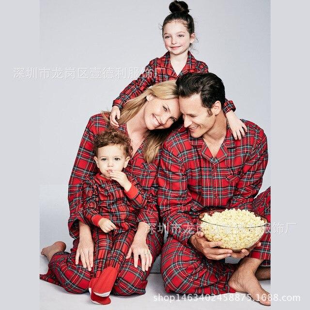 b488913fc8 Christmas Family Pajamas Set Adult Kids Women Sleepwear Nightwear Long  Sleeve Home Wear Printed Red Plaid new year Christmas Pjs
