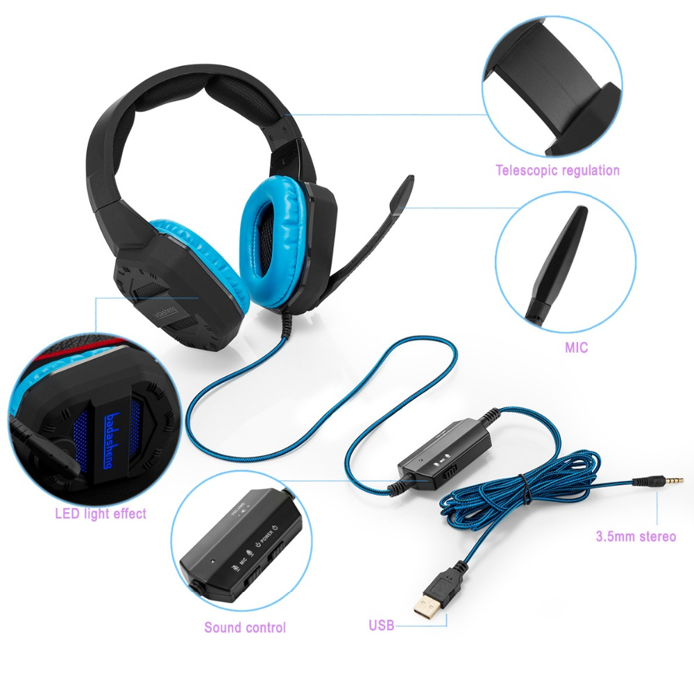 2016 new design Stereo gaming headset with LED light for PS4 Xbox one MAC PC USB and 3.5mm plug make the headset useful for game