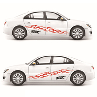 190cm Car Sticker Set Styling Fire Flame Pattern Decal Whole Body Vinyl Decor Car Body Covers Auto Accessories Red