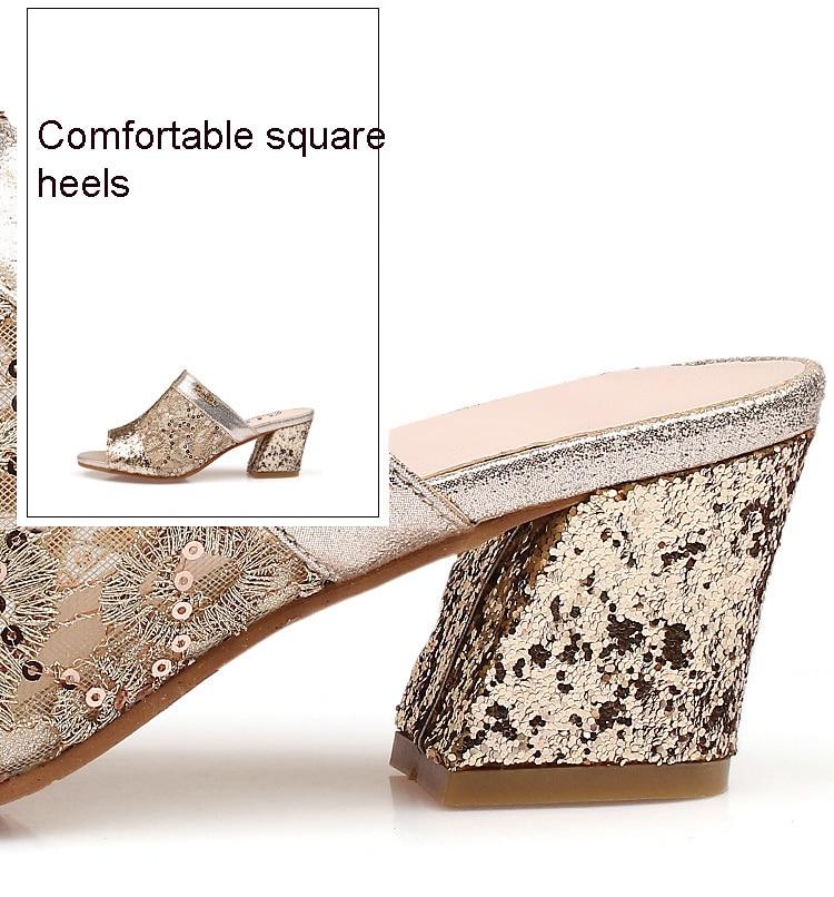 HTB1LRi5bRjTBKNjSZFuq6z0HFXa5 Women sandals 2019 Bling fashion square heel summer lace slippers women sexy Hollow sandals for women size 35-41