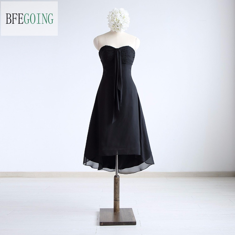 Black Chiffon Knee-Length A-line Formal Party   Cocktail     Dress   Sweetheart Beading Real/Original Photos Custom made