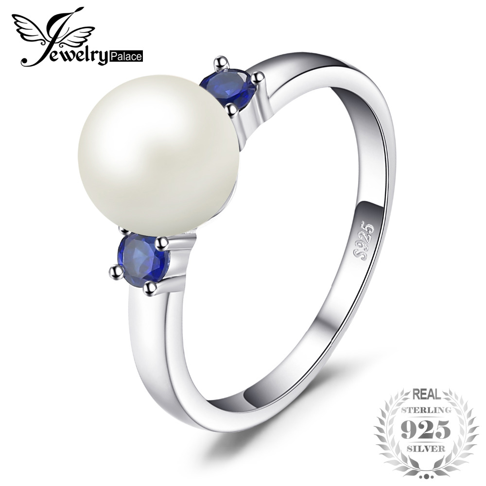 JewelryPalace 3 Stones 8mm Cultured Freshwater Pearl Round Blue Created Sapphire Ring For Women 925 Sterling Silver Jewelry Gift цена