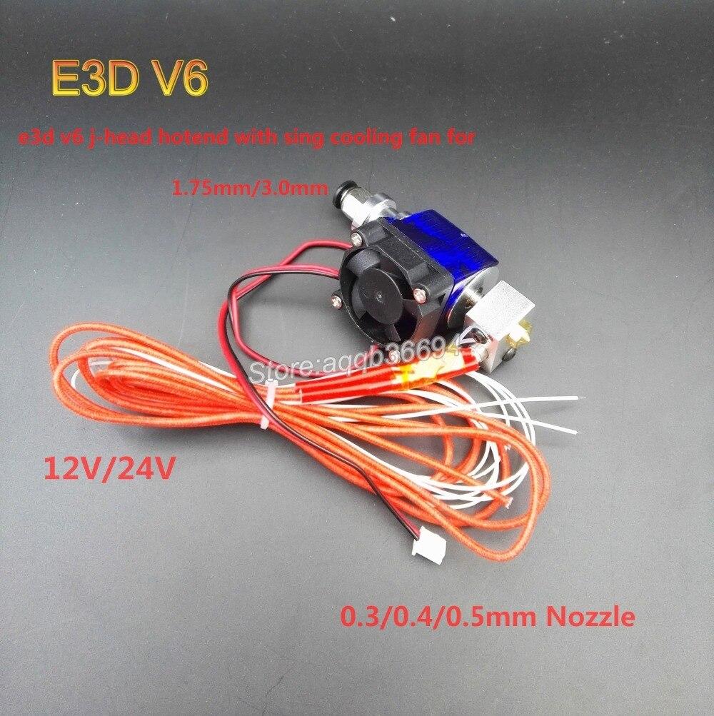 E3D V6 Hot End Full Kit 1.75mm 12V Bowden/RepRap 3d printer extruder parts accessories 0.2/0.3/0.4/0.5mm Nozzle