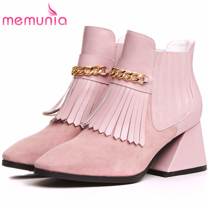 MEMUNIA Two colors fashion shoes punk ankle boots top quality genuine leather boots for women in spring autumn boots female top quality genuine leather oxfords for women gold sliver mixed colors female british style spring autumn casual flat shoes